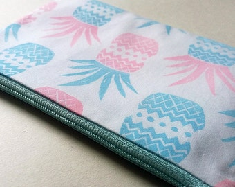 Hand Printed Pink & Blue Pineapple Pattern Coin Purse