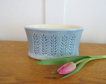 Light Blue Carved Oval Porcelain Pot