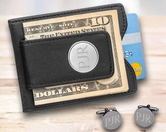Personalized Black Leather Wallet and Round Cufflinks Gift Set, Monogrammed Cufflinks, Groomsmen Cufflinks, Engraved  Wallet