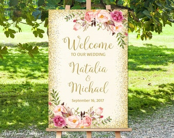Welcome To Our Wedding Sign, Ivory Welcome Wedding Sign, Large Welcome Sign, Cream Wedding Signs Printable, Printable Welcome Sign