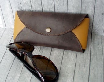 Leather Sunglasses Case Vintage case handmade brown Glasses Case Pencil case crushproof eyeglasses case genuine leather pencil pouch large