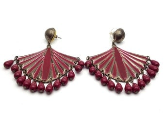 Large Fan Shaped Raspberry Enamel Silver Tone Metal Statement Drop Chandelier Style Earrings Vintage Pendant Runway Earrings