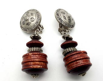 Clip On Detailed Silver Tone Plastic and Wood Beaded Drop Earring Earrings Vintage 80s Carved Lightweight Dangle Beads Primitive