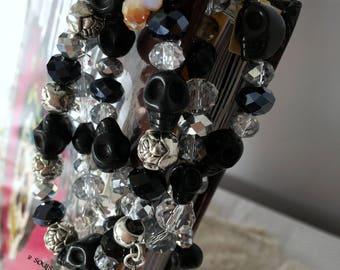 Bracelet Set Skulls Crystals Roses Black Clear Silver Goth Punk Day of the Dead Elegant Evening Dia De Los Muertos Jewelry Jewellery Grunge
