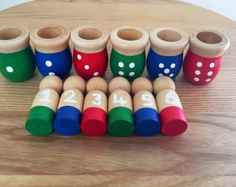 Number Sorting Peg Dolls, Wooden Peg dolls, Educational Toys, Maths resources, Counting Tools