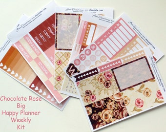 Big Happy Planner - Chocolate Rose weekly Sticker kit for the MAMBI Big Happy Planner vertical planner by Green Darner Designs