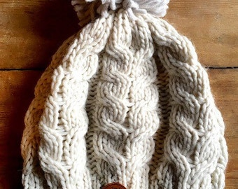 "Hand-knitted women's ""FRENCHIE"" wool hat / beanie / bonnet"