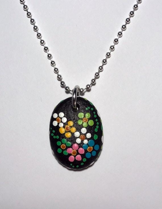 Hand Painted Beach Stone Pendant Necklace Alaskan Art Handmade Natural Jewelry Dot Art