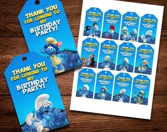Smurfs Thank You Card, Birthday Card, Party Card, Thank You Decor