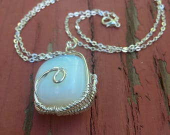 Medium length opalite wire wrapped necklace  | opalite necklae | wire wrapped necklace