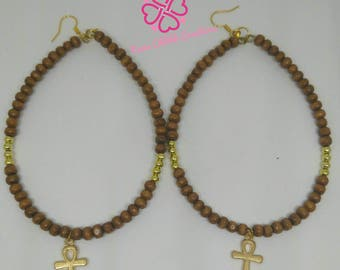 Brown and Gold Nubian Ankh hoops