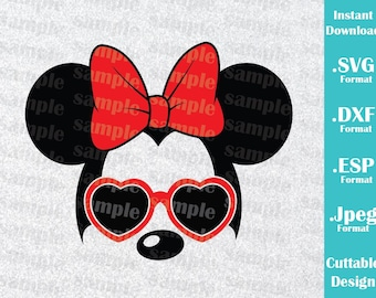 INSTANT DOWNLOAD SVG Disney Inspired Minnie Mouse Sunglasses Ears for Cutting Machines Svg, Esp, Dxf and Jpeg Format Cricut Silhouette