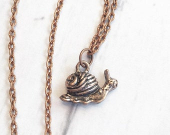 Handmade Antique Rose Gold Snail Charm Necklace Chain Necklace Pendant Necklace Charm Necklace Simple Hobo Bohemian Necklace