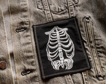 Lino Print Rib Cage Skeleton Patch White on Black