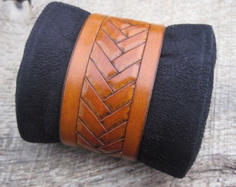 Mens Leather Cuff Bracelet with Hand Tooled Herringbone Tribal design made to order. Free shipping.