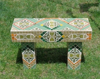 Mosaic garden bench seat outdoors