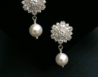 Cubic Zirconia Flower Bridal Earrings Pearl Drop Wedding Earrings