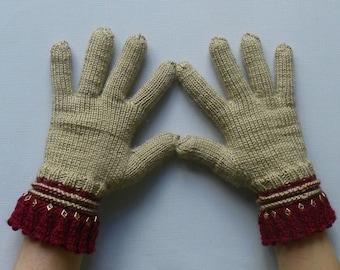 Knit fingered gloves Brownish fingered gloves Knitted fingered gloves Knitted gloves Warm gloves Warmers Women's findered gloves Gift