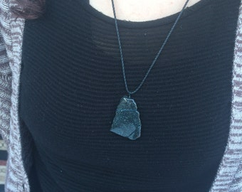 Inner Peace- Specular Hematite Wire Wrapped Necklace- Black