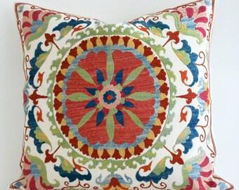SALE - Suzani Bedding, Suzani Pillow Cover, Suzani Pillow. Silk Suzani Pillow Cover, Uzbek Pillow, Decorative Pillow cover, Boho Pillow