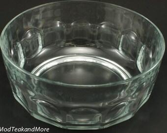 Arcoroc Clear Thumbprint/Dimple Glass Salad/Fruit/Chip Bowl