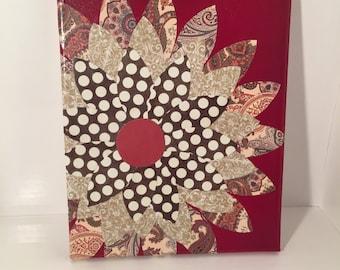 Geometric Flower Mixed Media Canvas Art