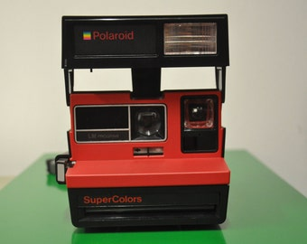 Rare Vintage Red Polaroid Supercolors  Instant Camera with neck strap