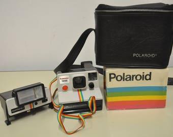 RARE!! POLAROID 1000 RAINBOW strap - land camera + Flash + Bag 70s Retro Vintage