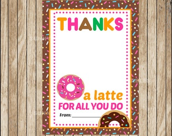 Tag thanks a latte etsy Thanks for all you do gifts