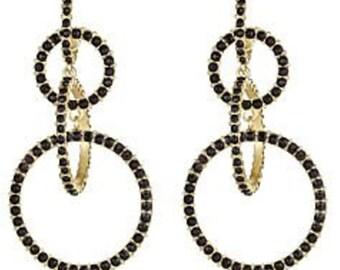 Crystal Circle Link Earrings