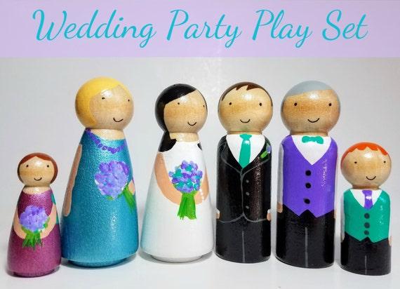 Toys For Boys Wedding : Peg doll wedding play set toy flower girl page boy