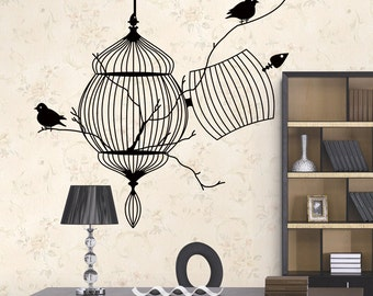 Bird Cage Wall Decal - Removable Wall Sticker   PP211