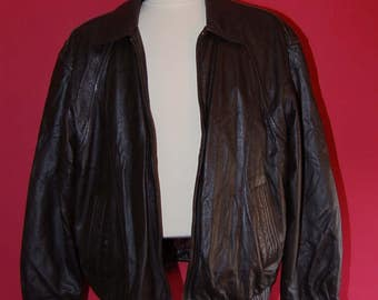 Mens brown Members only  leather jacket size XL , 1970's -1980's