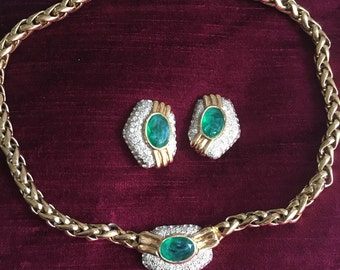 Vintage couture  1980s Vogue bijoux necklace and earrings