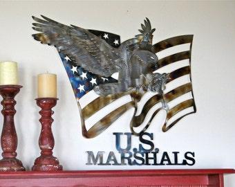 Metal Wall Decor, Metal Wall Hangings, Metal Wall Art Decor, US Marshals Wall Art