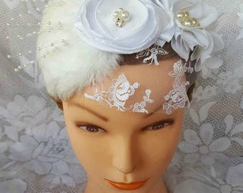 White Wedding Feather and Flower Fascinator, Bride, Bridesmaid, Flower Girl, Bridal Fascinator
