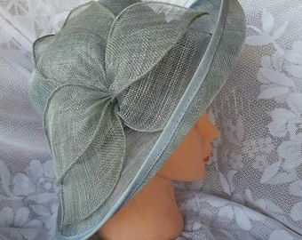 Grey Sinamy, Kentucky Derby Hat, Wedding Hat, Church, Tea Party, Sinamay Hat ( Gray) Races Hat, Derby Hat, Melbourne Cup, Bridal Hat