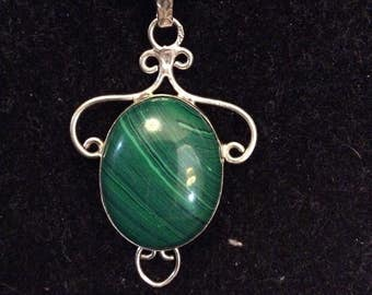 Silver and Malachite pendant