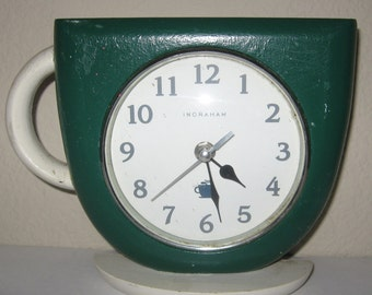 Ingraham Coffee Cup Clock- Stand on Table or Hang on Wall Works very well