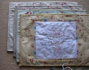 Tea and Roses Embroidered Quilted Placemats