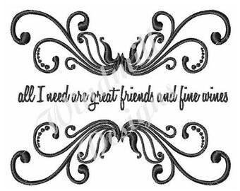 Great Friends & Wine - Machine Embroidery Design