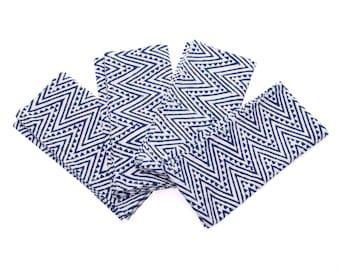 SALE - Blue Block Print Napkins