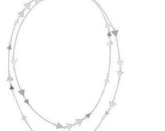 Pretty Silver Double Layer Necklace NK7030