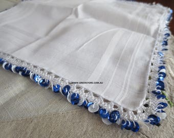 White and blue sequined mandilia (handkerchief for dancing)