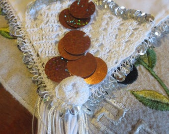 Silver and Bronze sequined square headkerchief (for traditional Greek costume)