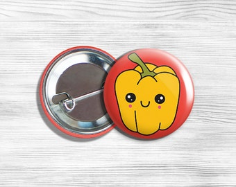 "Kawaii Yellow Bell Pepper Vegan Vegetarian Vegetable Pinback Button Pin 1.75"""