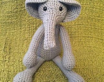 Floppy Gray Elephant Toy, Elephant Stuffed Animal, Elephant Themed Nusery, Elephant Themed Kids Room, Stuffed Elephant Toy