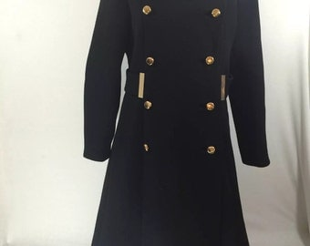 Women's black wool double breasted gold accents union made long coat pea coat size 10