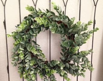 Small Frosted Eucalyptus Wreath  - Custom Wreaths - Handmade - Summer - Spring - Housewarming Gift - Birthday Gift - Sympathy