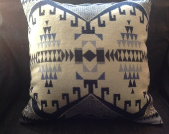 "Throw Pillow: stunning ""Trailhead Blue"" Pendleton Native American Inspired Fabric  17""x17"""